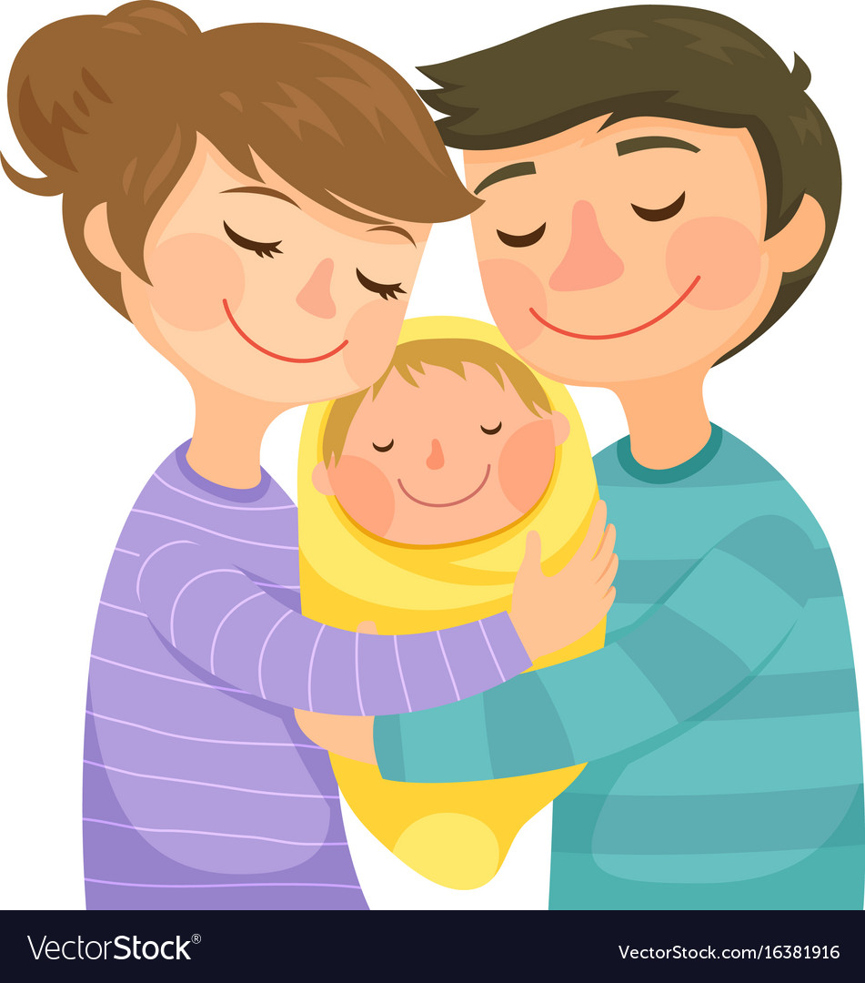 Parents hugging a baby Royalty Free Vector Image Hugging Family Clipart