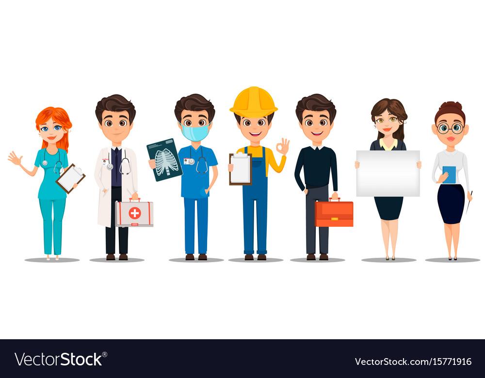 Professions set of cartoon characters doctors vector image