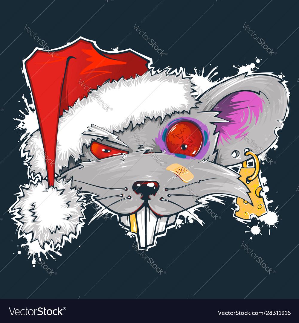 Rat in santas hat symbol year 2020