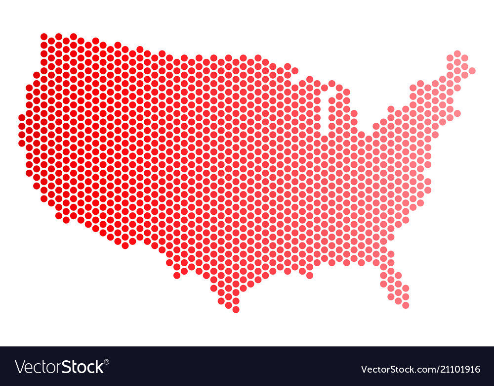 Red dotted usa map