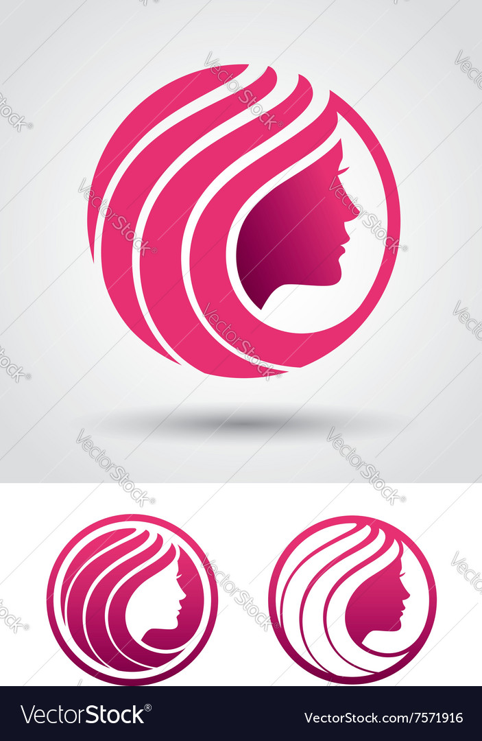 Round woman profile logo vector image