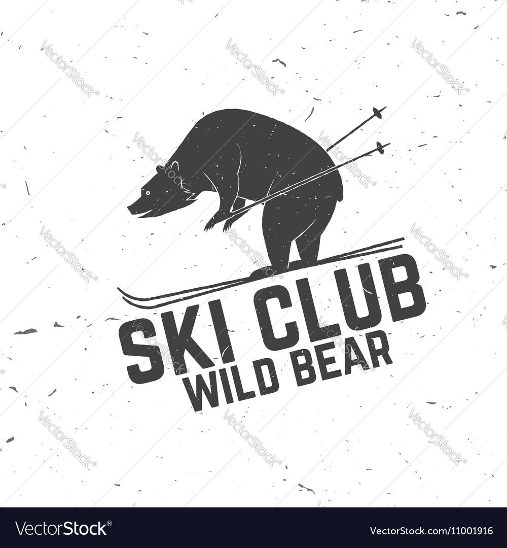 Ski club concept with bear