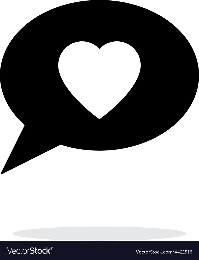 Speech bubble with heart icon on white background