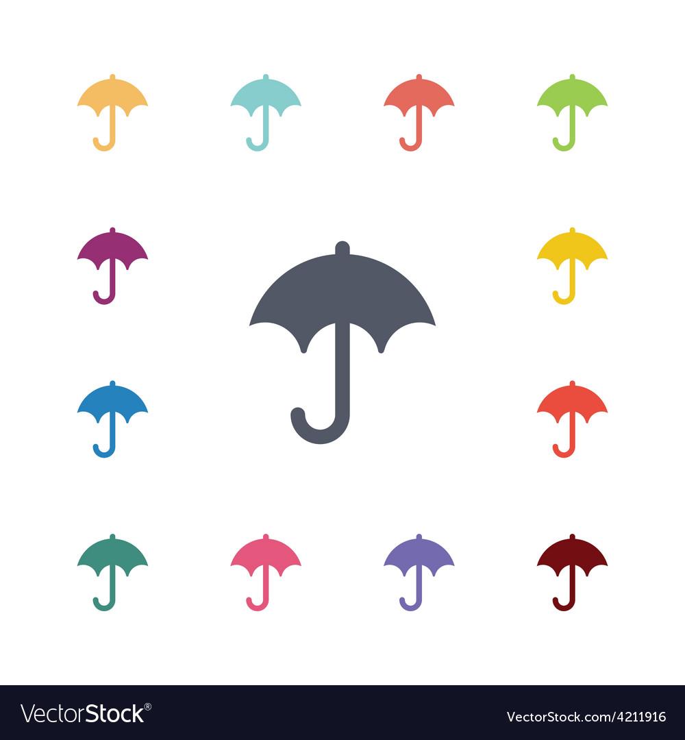 Umbrella flat icons set vector image
