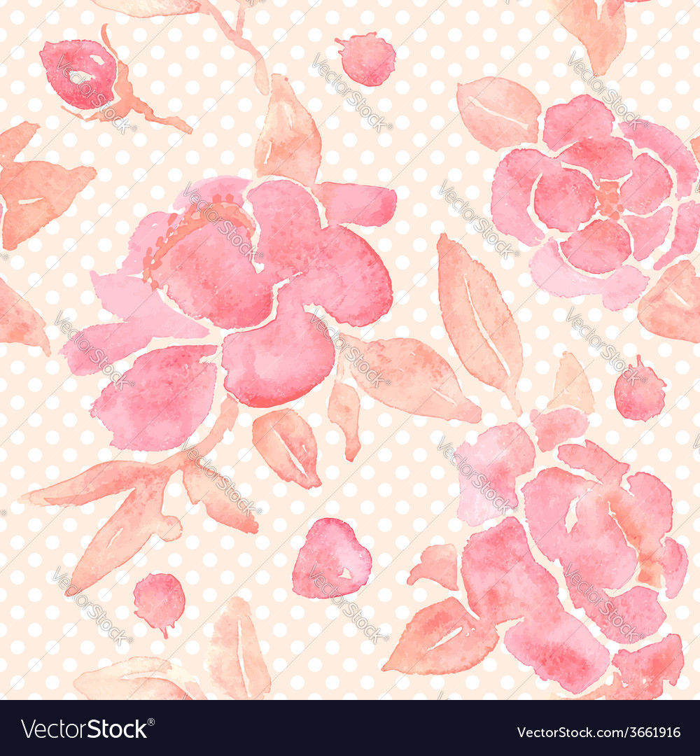 Watercolor seamless wallpaper with Peony flowers