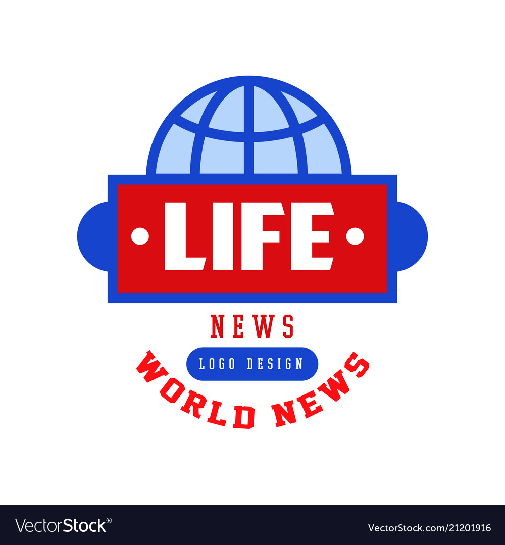 World life news logo social mass media emblem