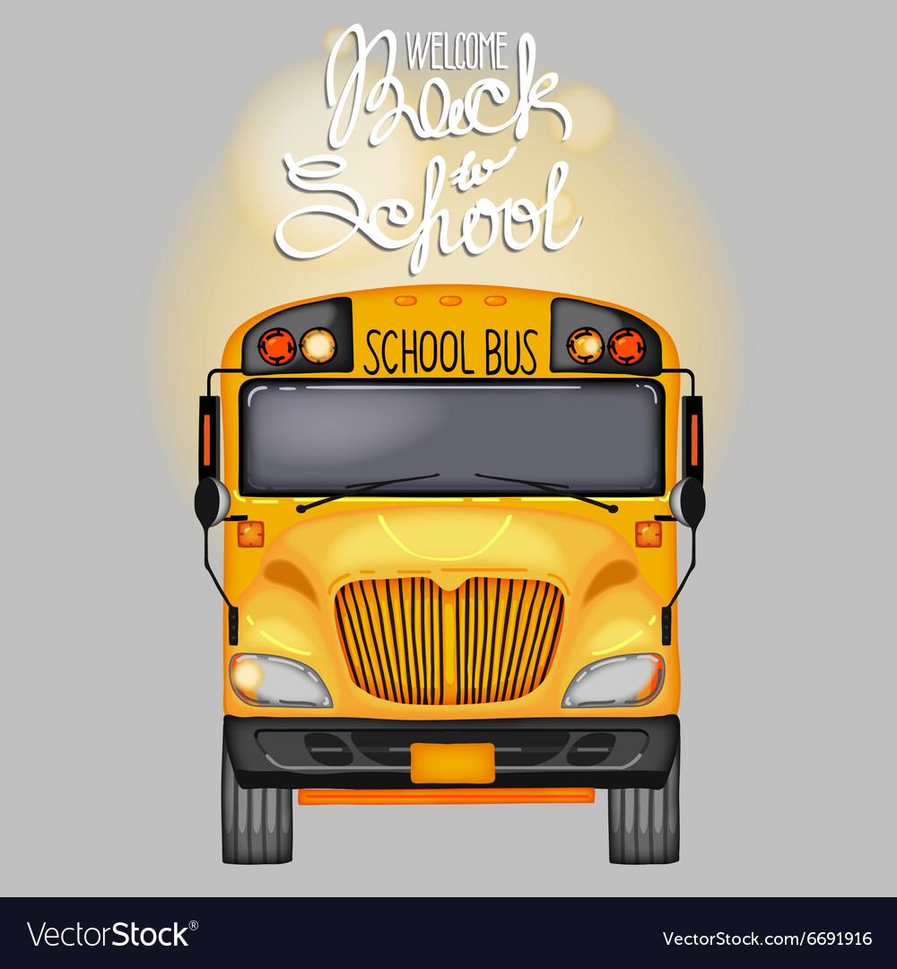 Yellow school bus in front view