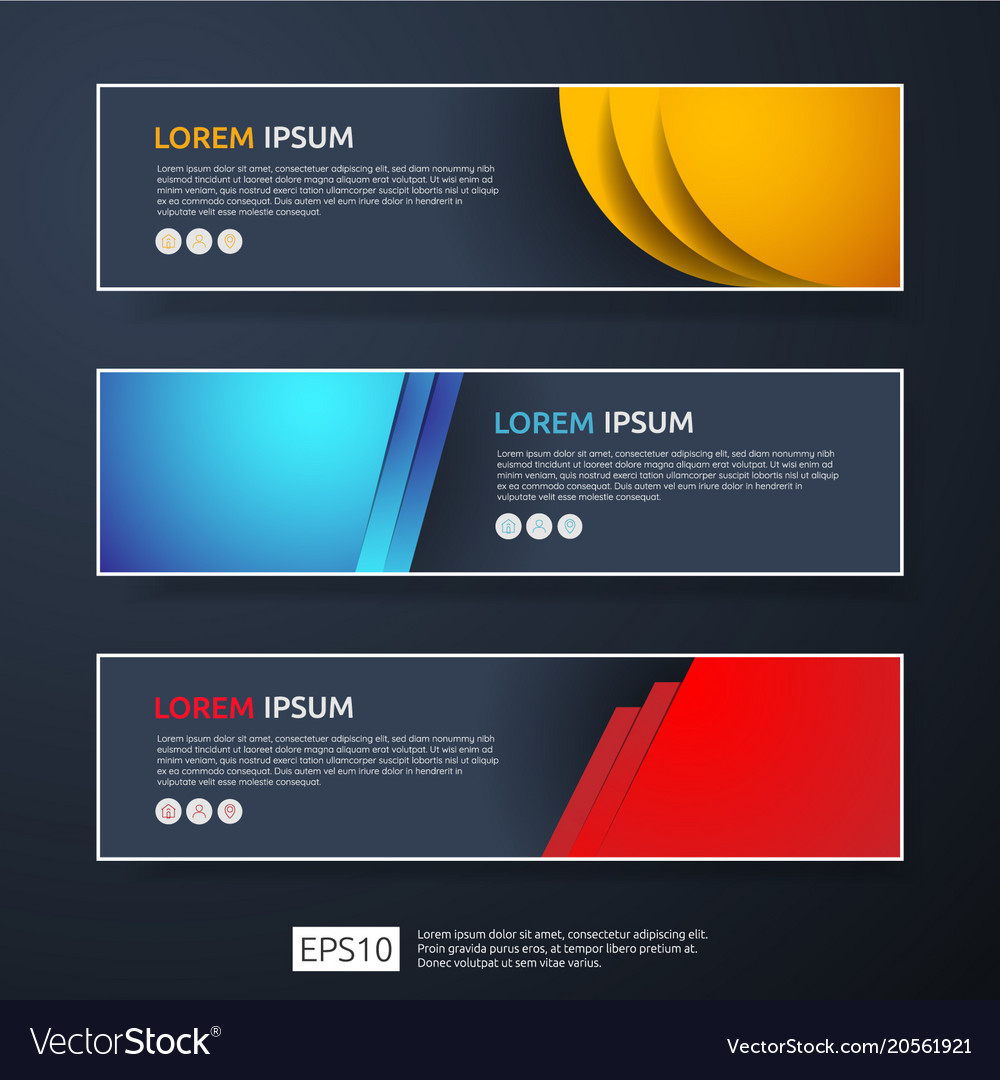 Abstract business header or banner template set vector image flashek Gallery