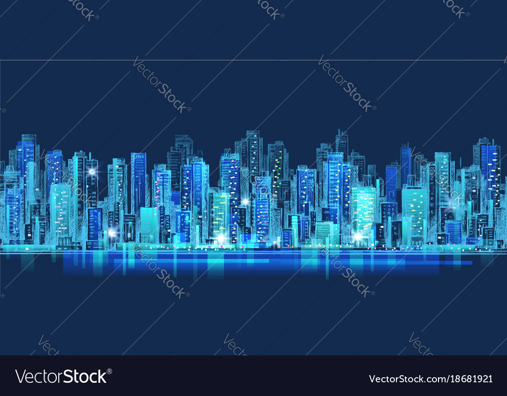 abstract city scene on night time cityscape vector image