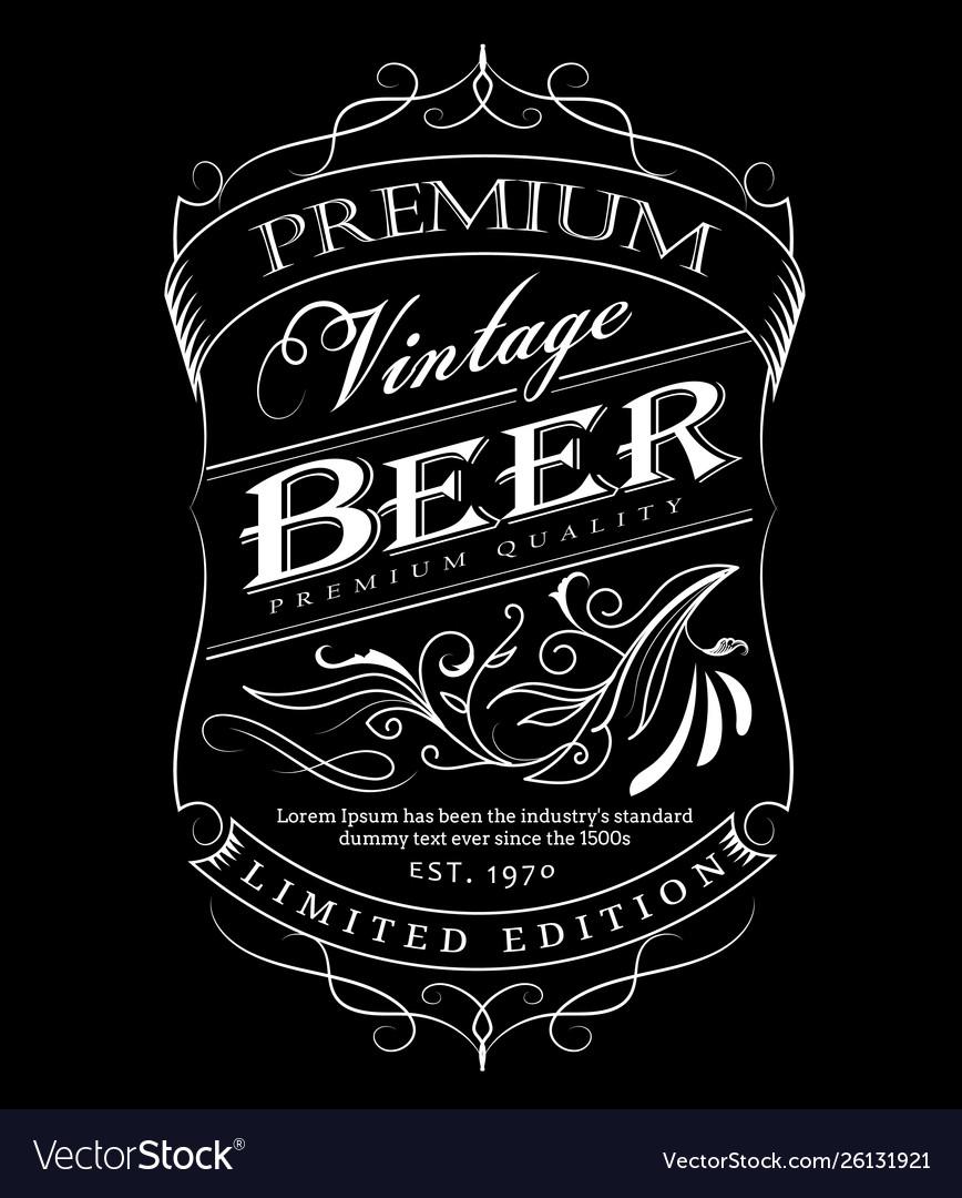 Beer label western hand drawn frame blackboard