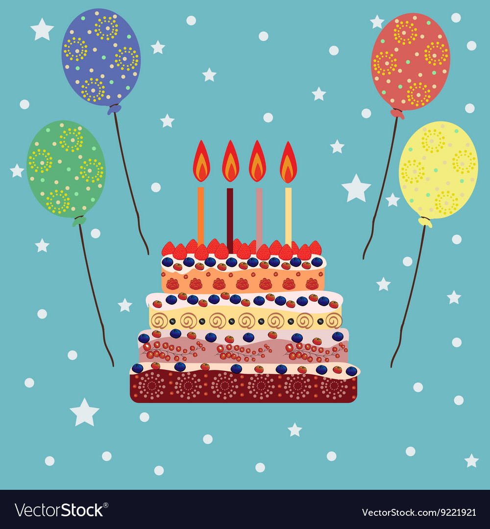 Phenomenal Birthday Cake With Four Candles Four Years Vector Image Personalised Birthday Cards Veneteletsinfo