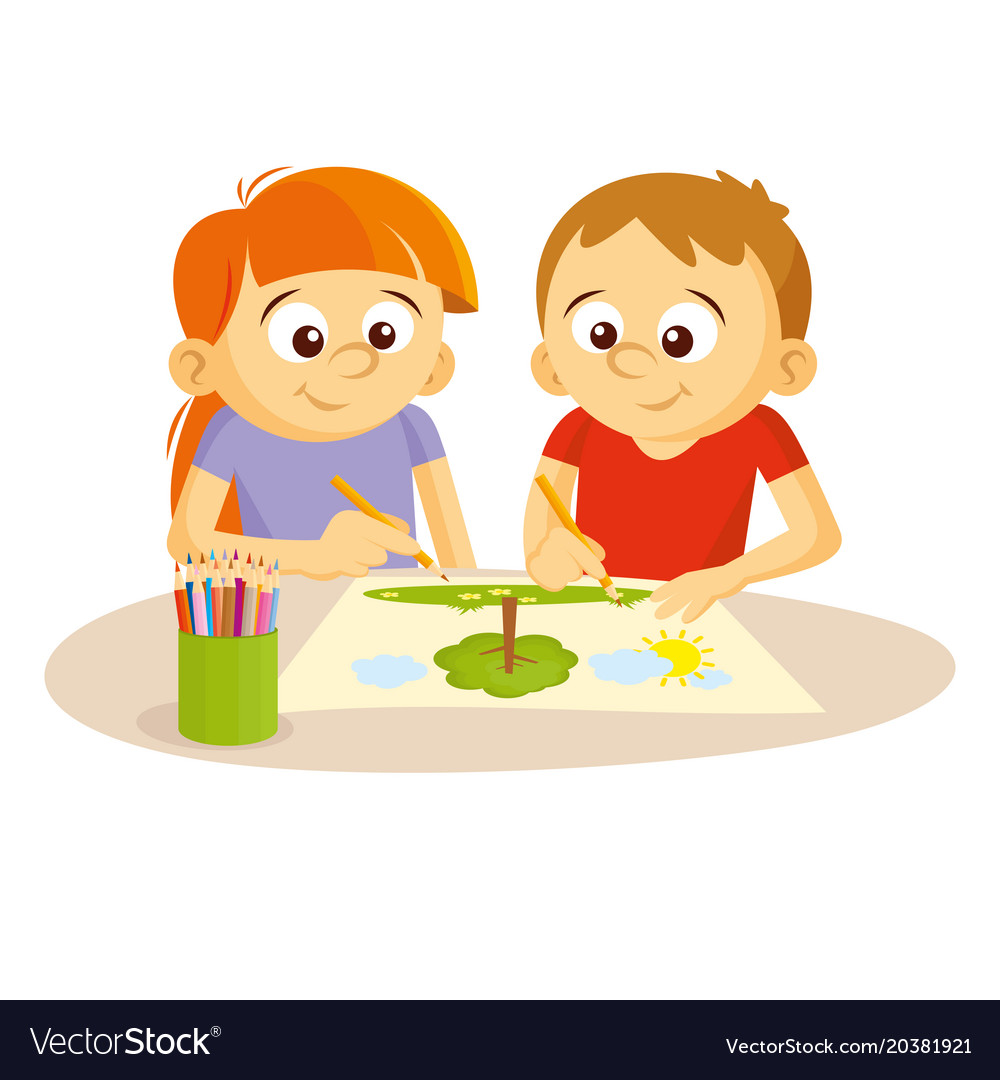 Boy and girl draw picture