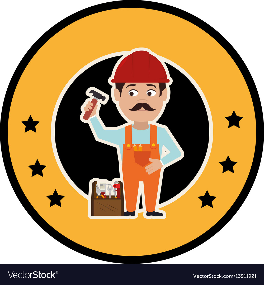 Circular frame with silhouette man carpenter and