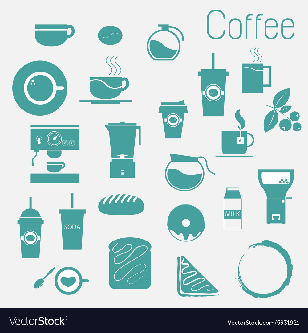 Coffee cup set Tea cup icon collection