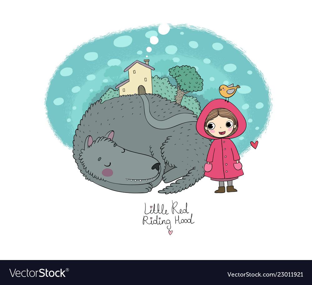 Cute cartoon little girl red riding hood fairy