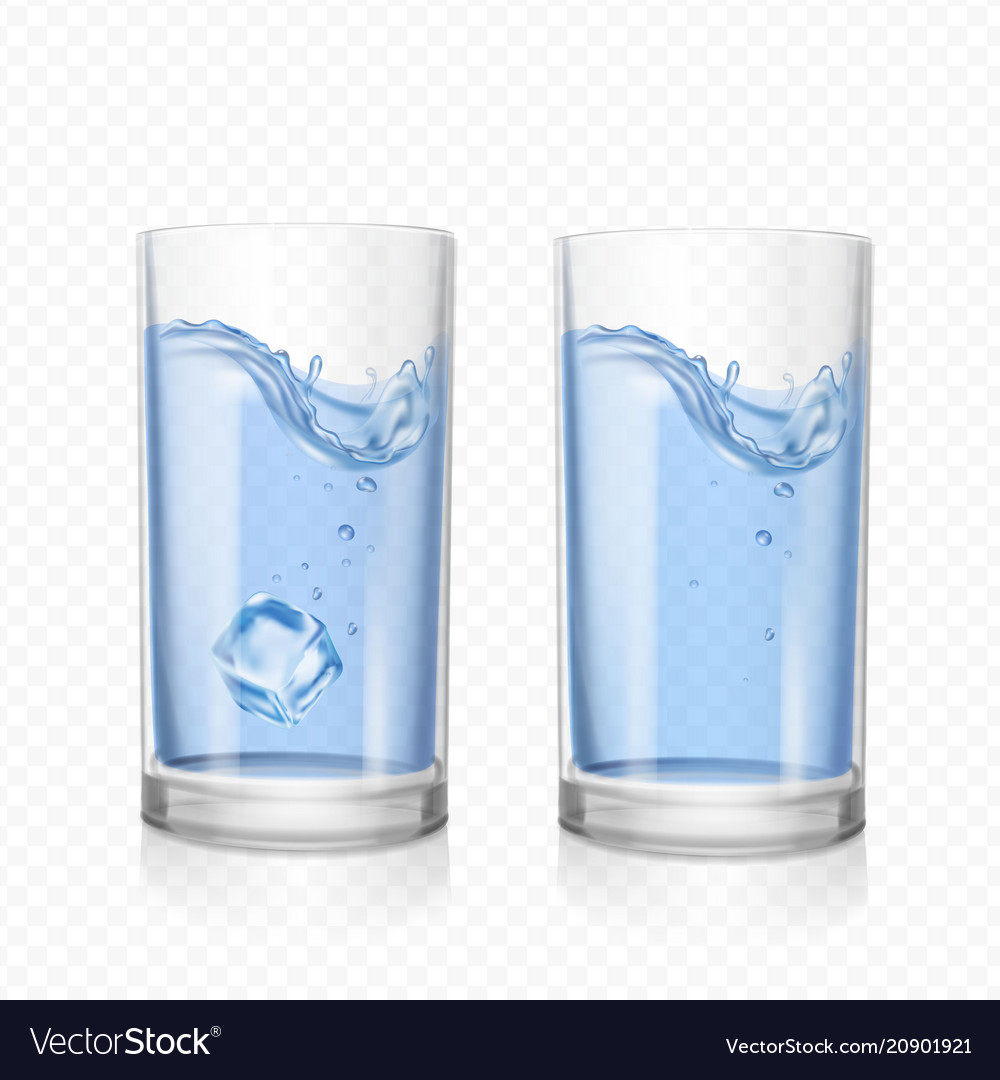 Glass With Water And Ice Cube Royalty Free Vector Image