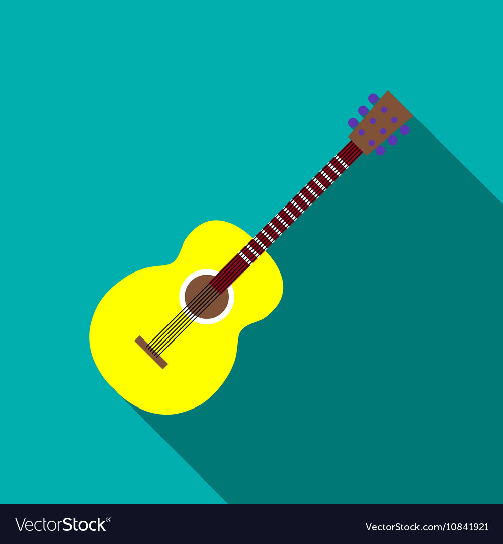 Guitar icon flat style