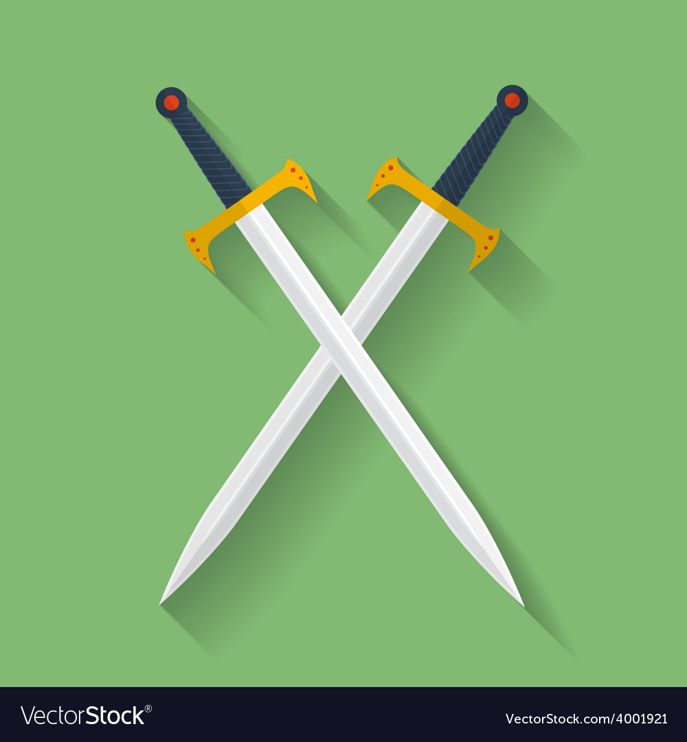 Icon of ancient swords Flat style