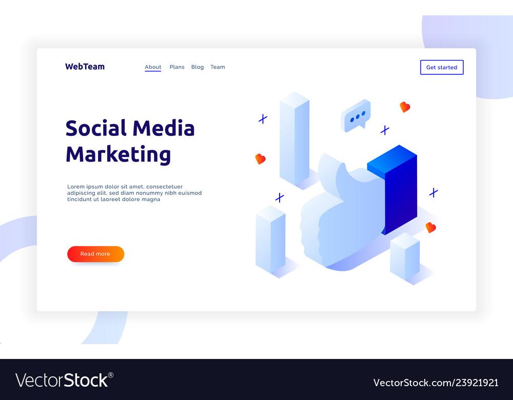 Isometric social marketing gradient style design