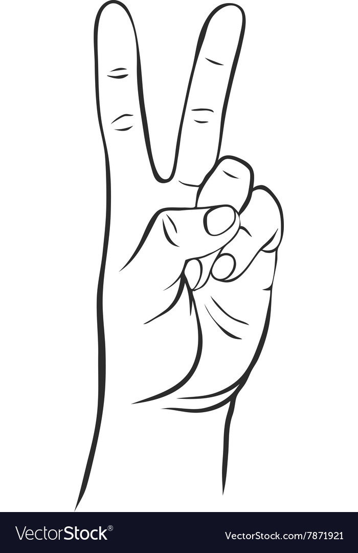 Line drawing hand with two fingers vector image
