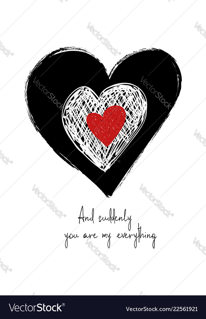 Love card with grunge hearts