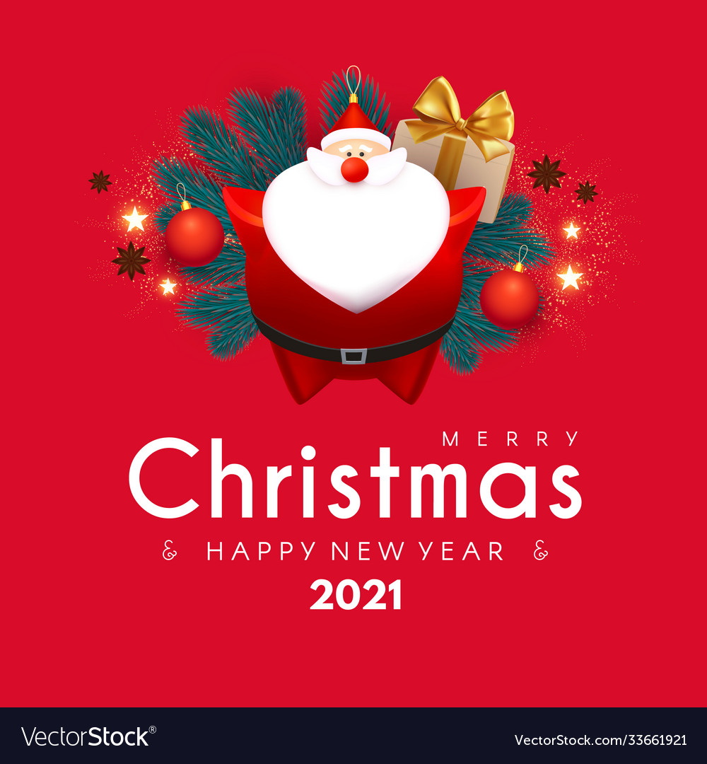 merry christmas and happy new 2021 year design vector image vectorstock