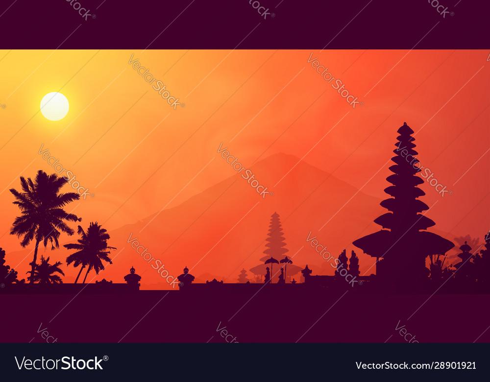 Orange tropical sunset in bali island with dark