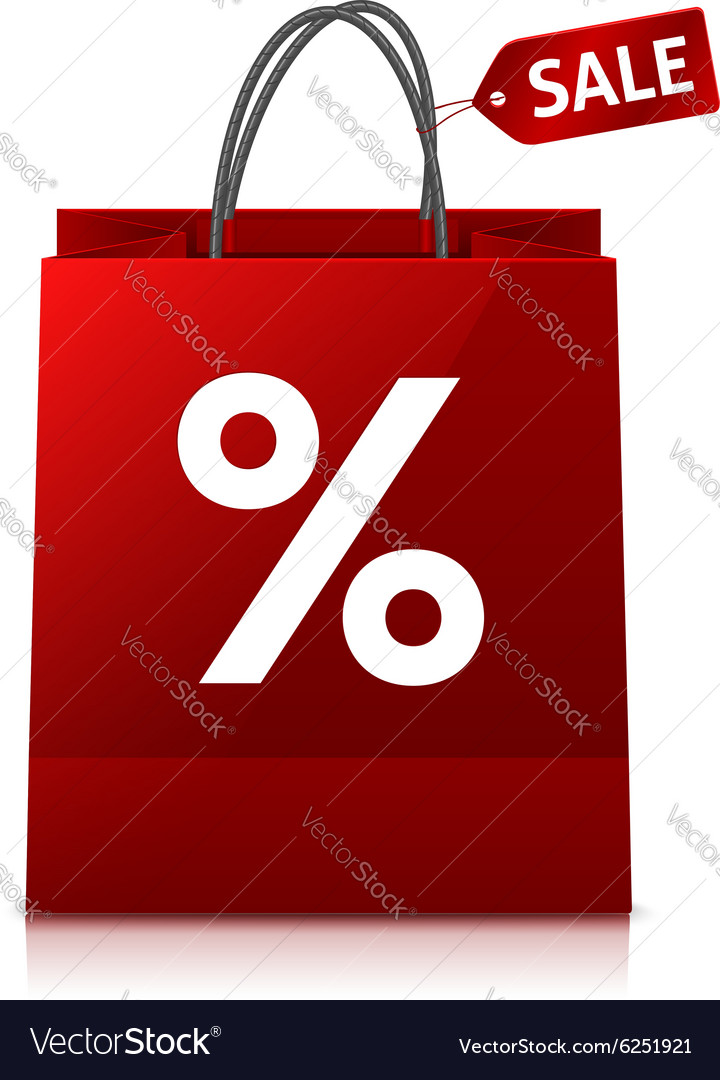 Red glance shopping bag with big white percent vector image