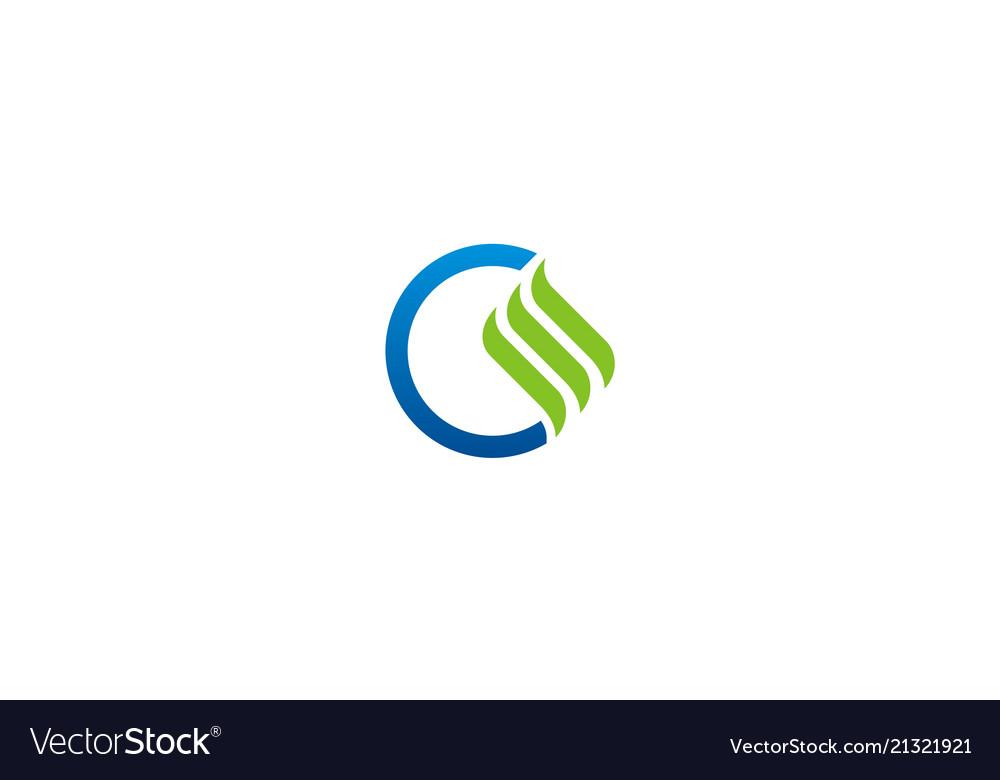 Round wave business finance logo