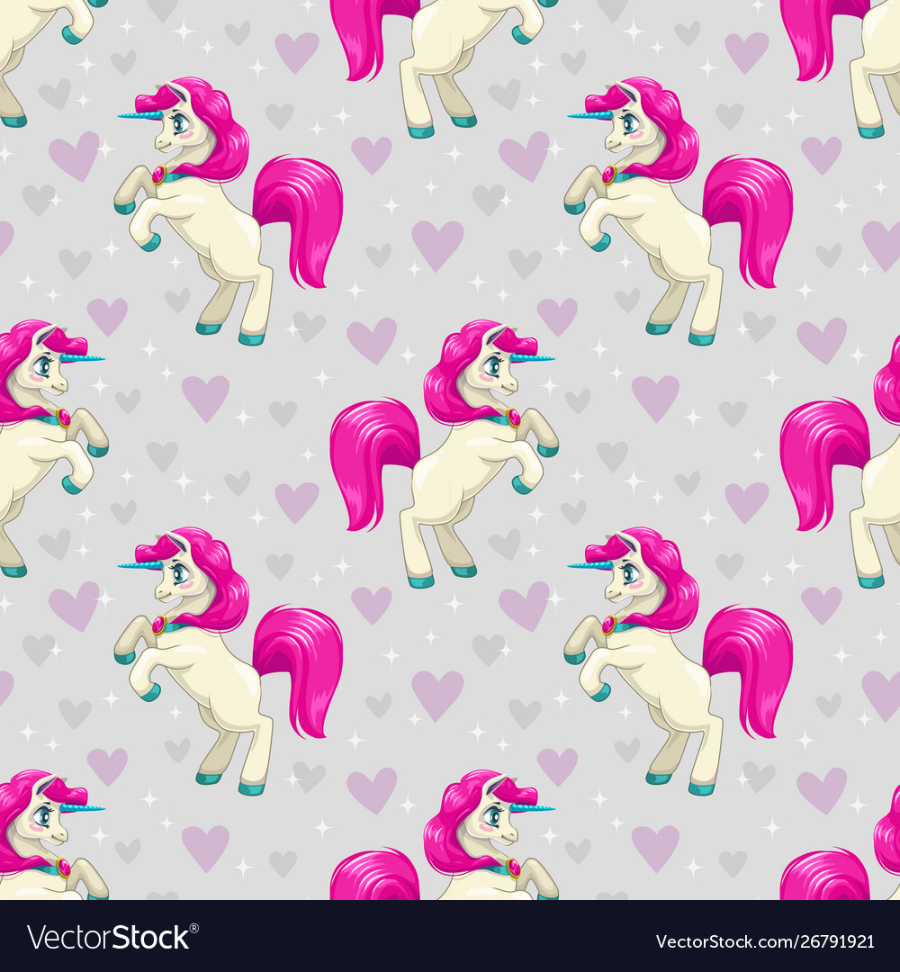 Seamless pattern with cute cartoon fairy unicorns