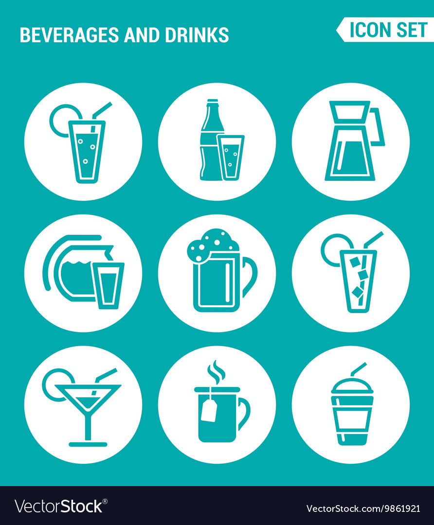Set of round icons white Beverages and drinks