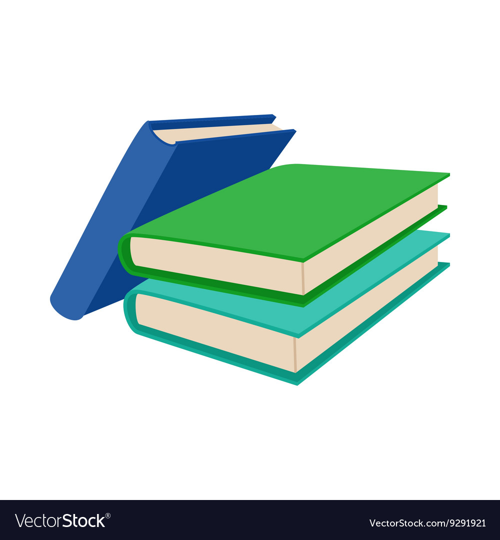 Three Colored Books Icon Cartoon Style Royalty Free Vector