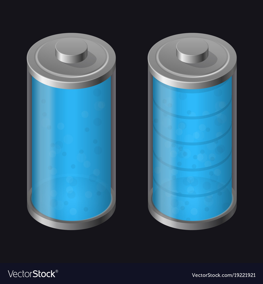 Transparent glass battery full charging blue