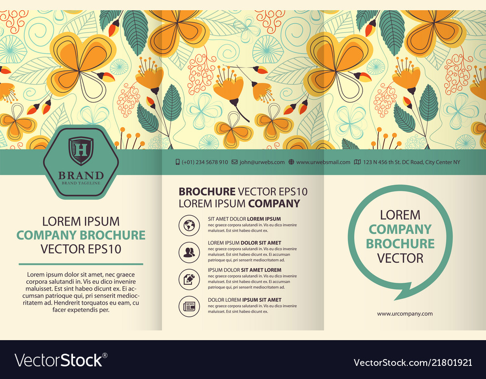 Trifold brochure design template with floral