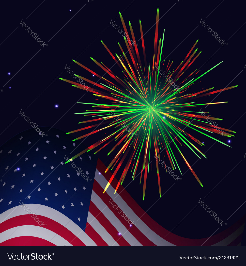 United states flag and red green fireworks