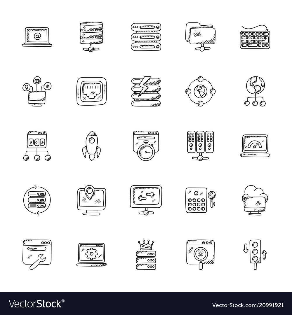 Web hosting doodle icons set