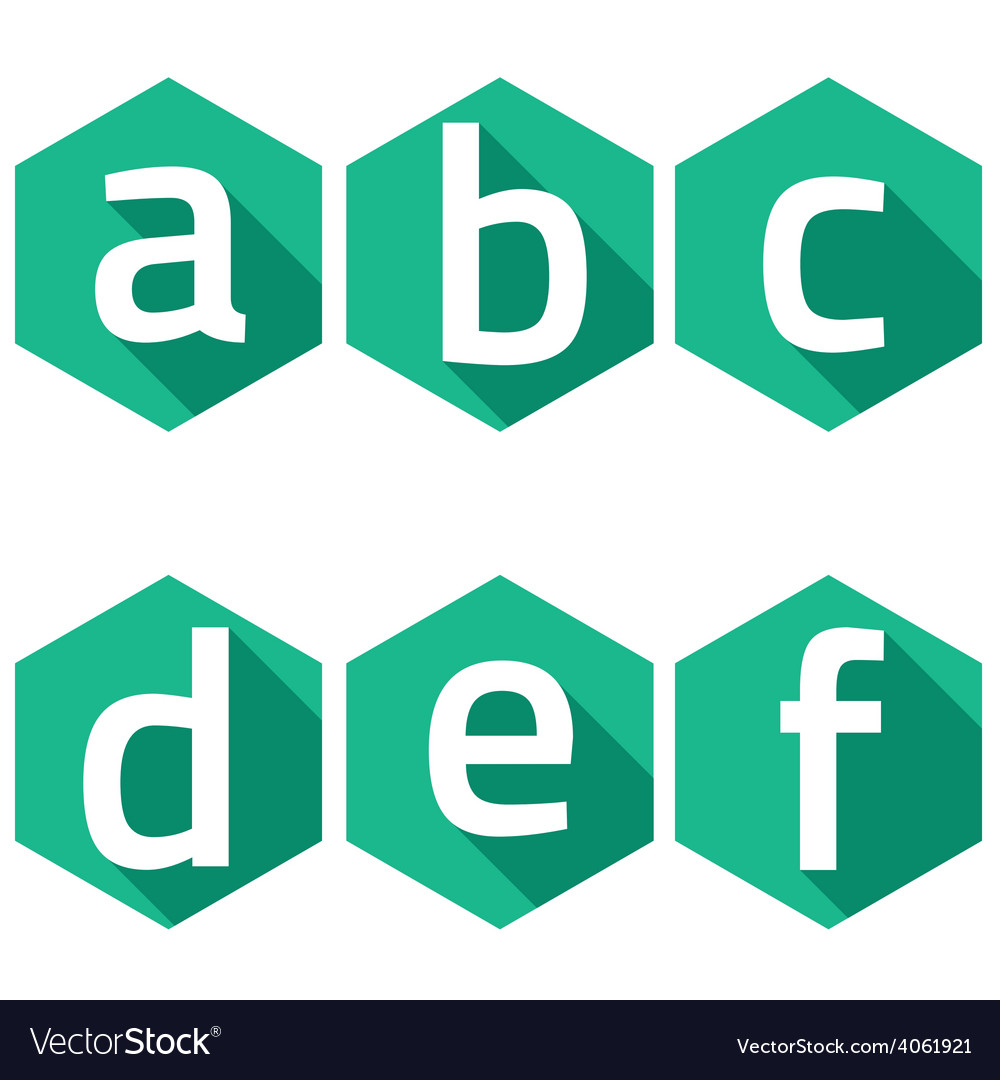 White Alphabets On Green Hexagon Background vector image