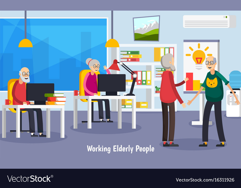 Aged elderly people orthogonal concept vector image