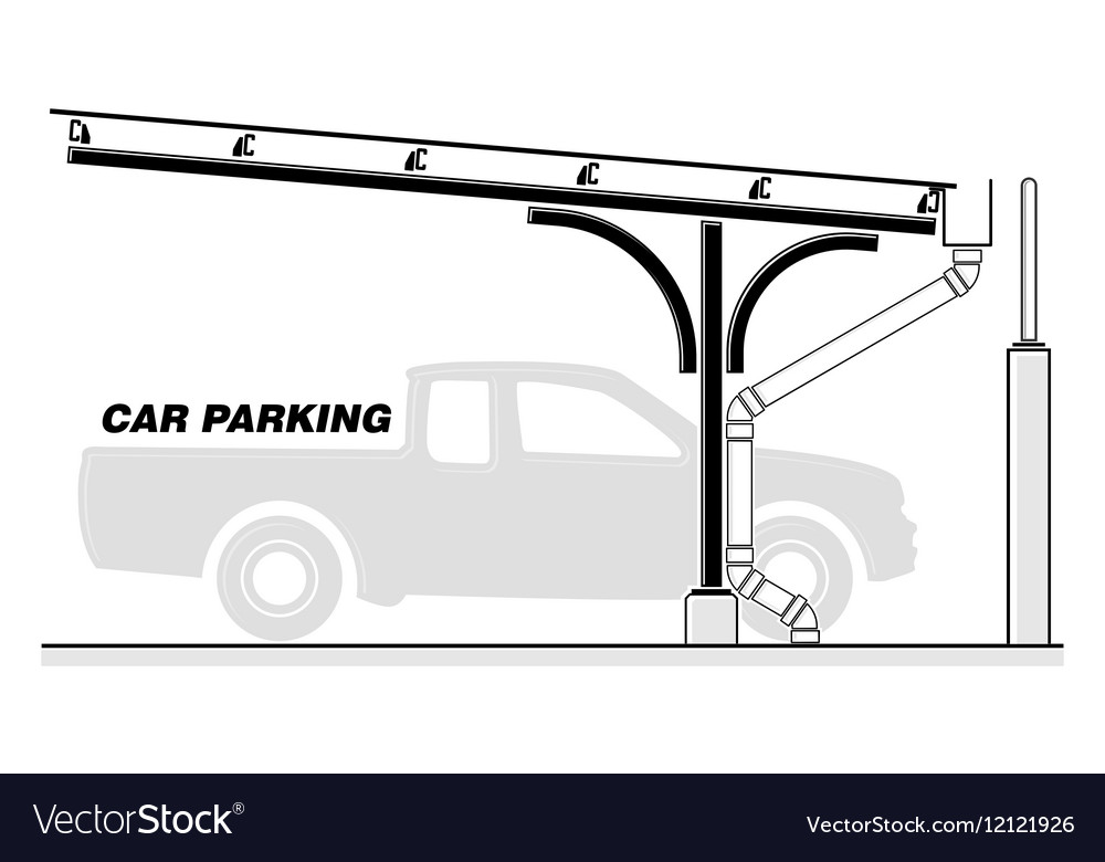 Car Parking Lot Roofing Section Royalty Free Vector Image