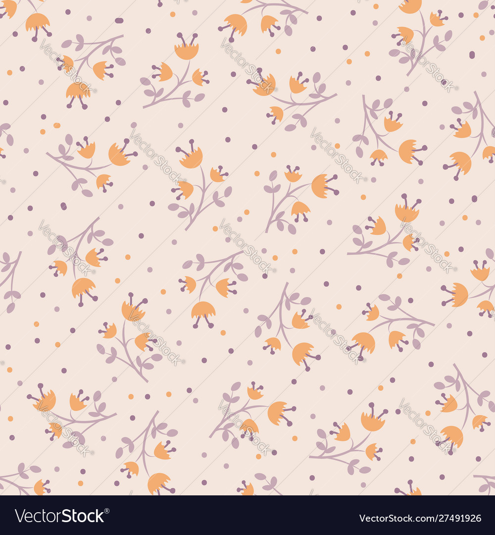 Cute autumn flower seamless pattern with