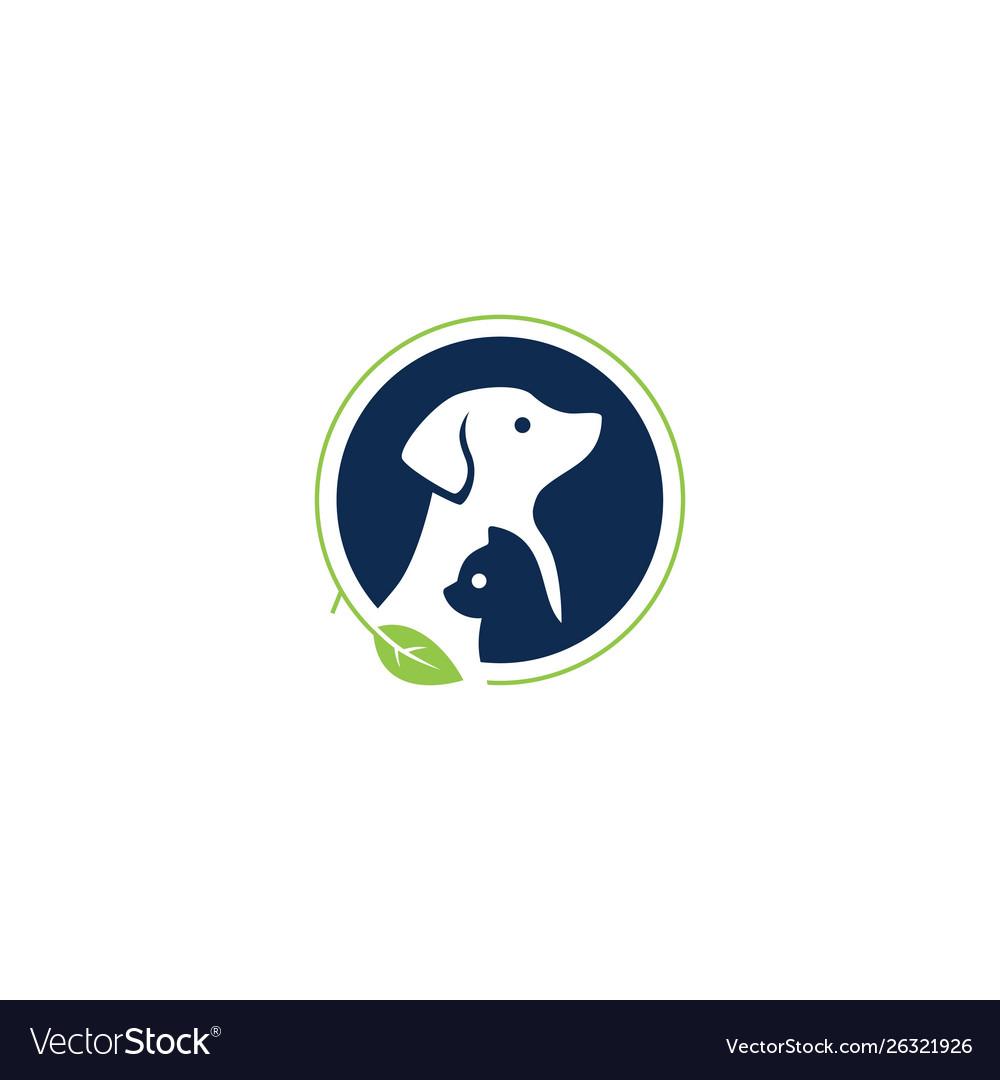 Dog cat pet leaf logo icon illustration
