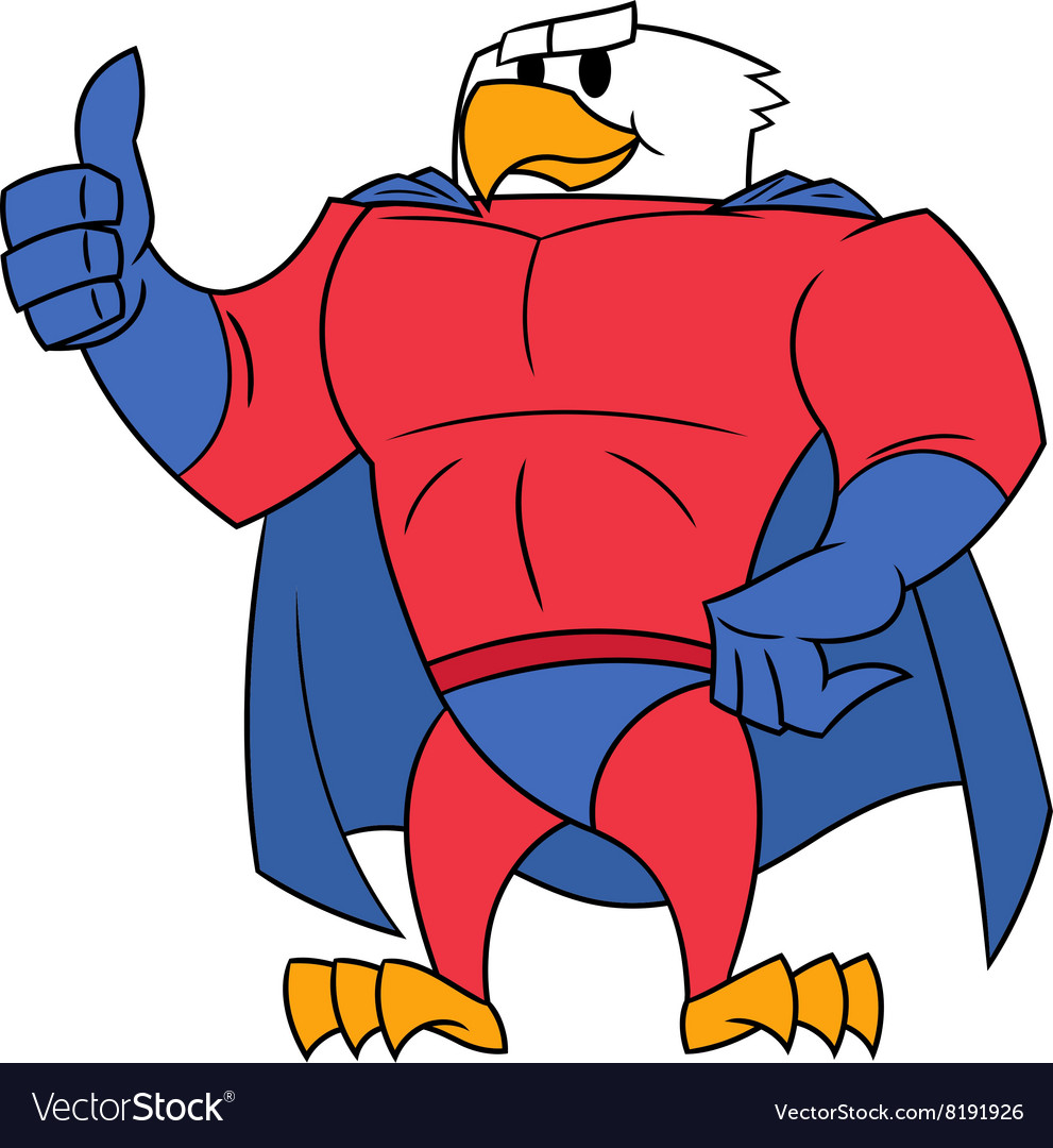 Eagle superhero thumb up gesture