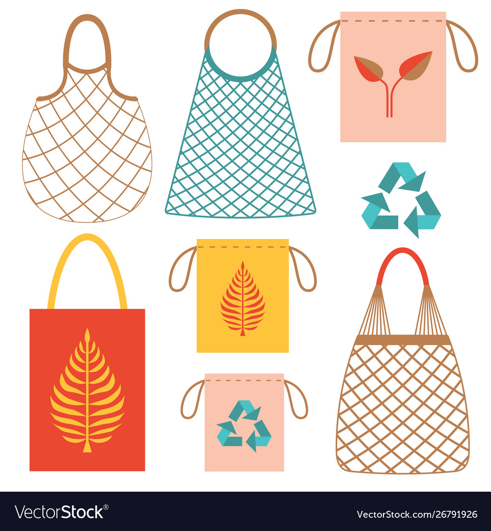 Eco friendly grocery string bags flat set