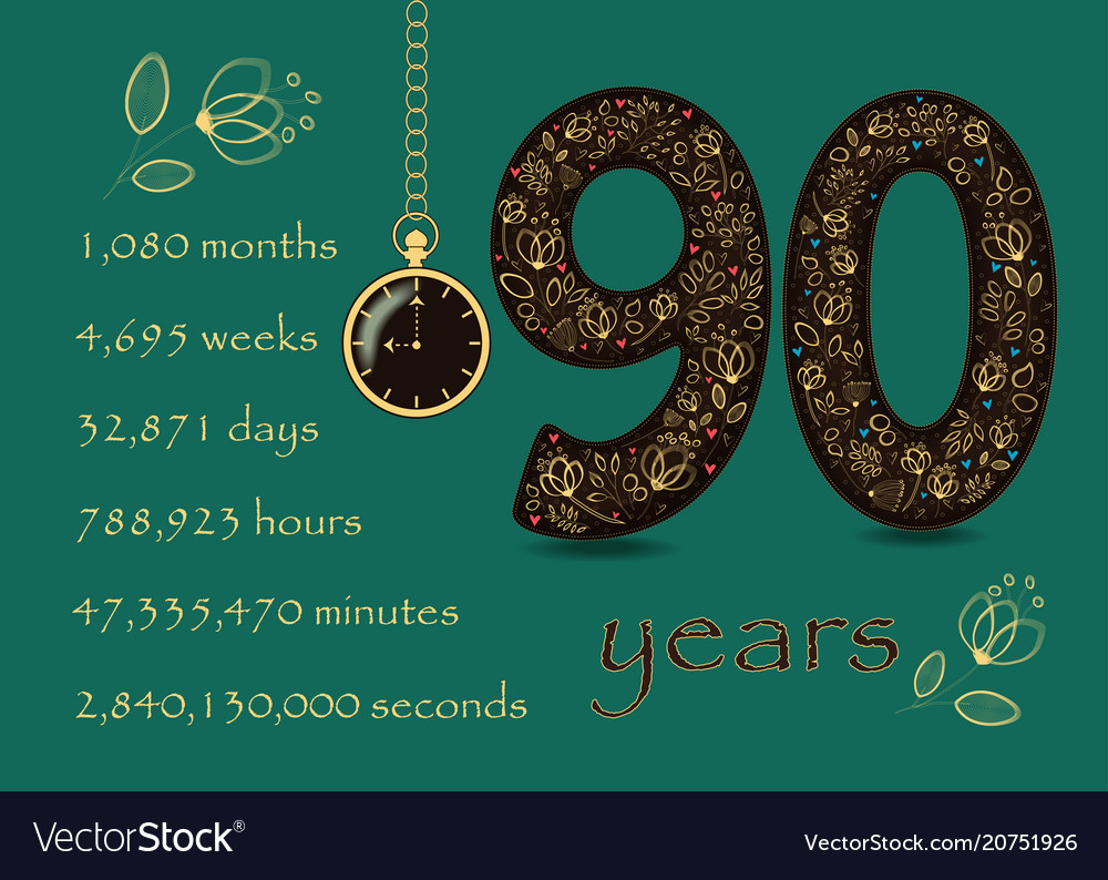 Floral card with number ninty and pocket watch vector image
