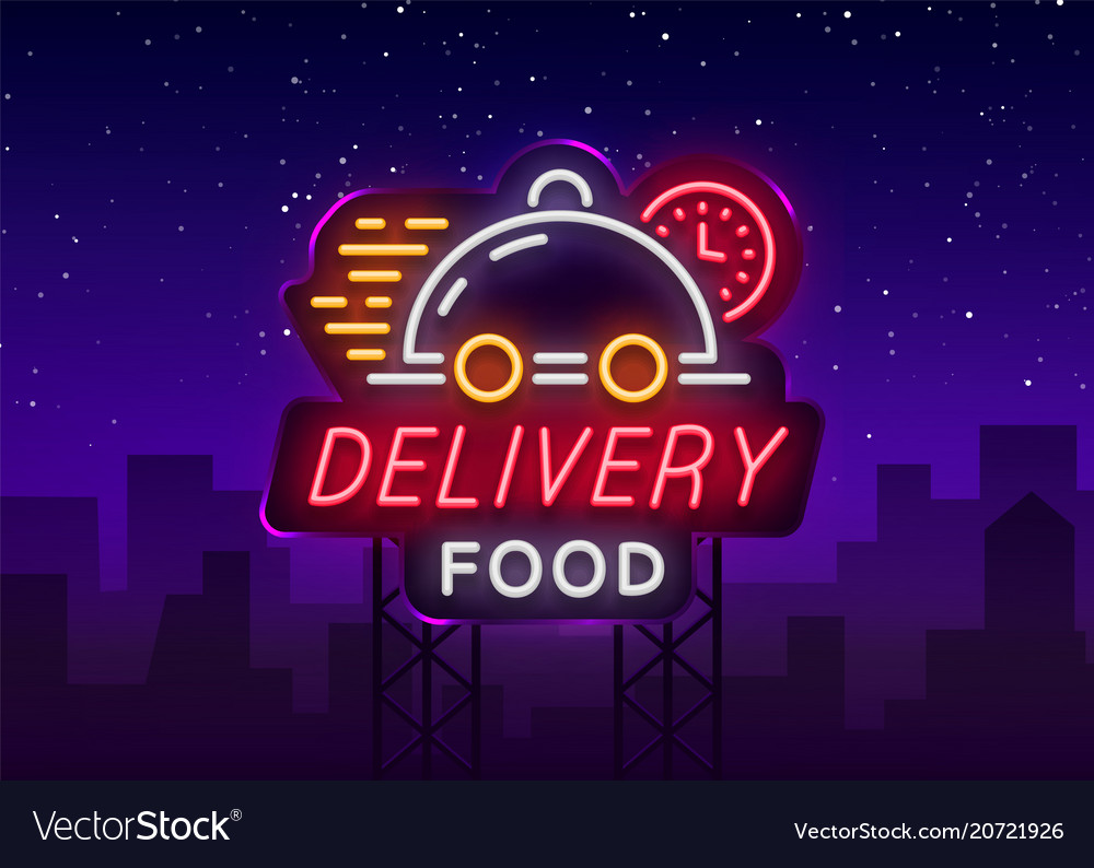 Food delivery neon sign logo in neon style light