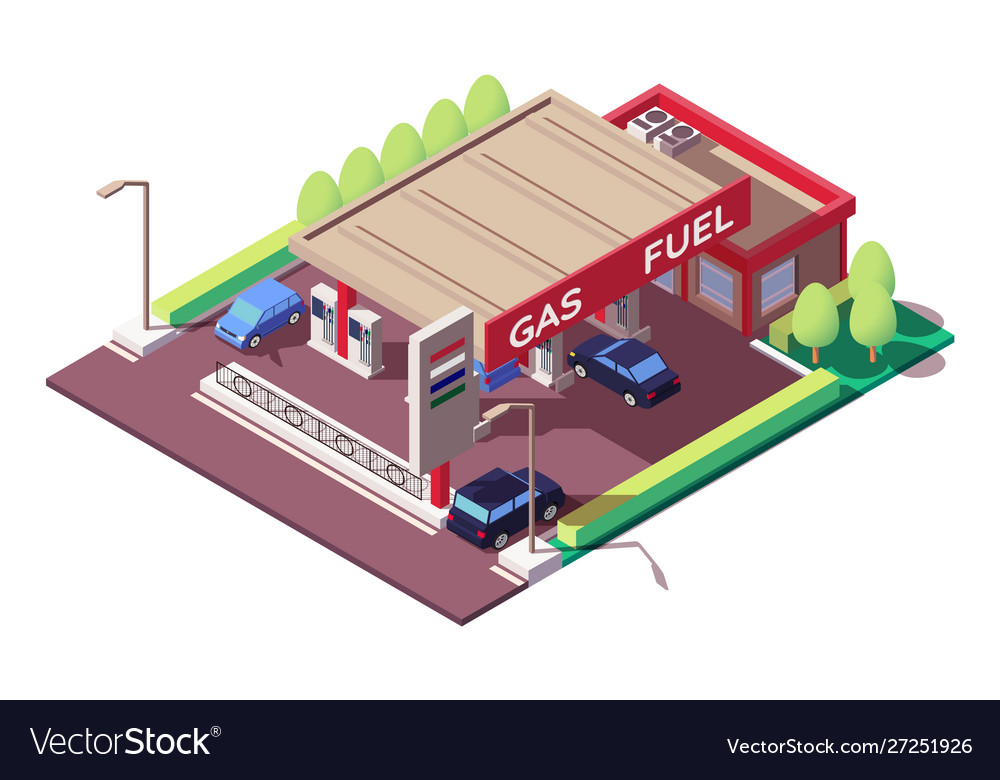 Gas station with sedan and classic car parking