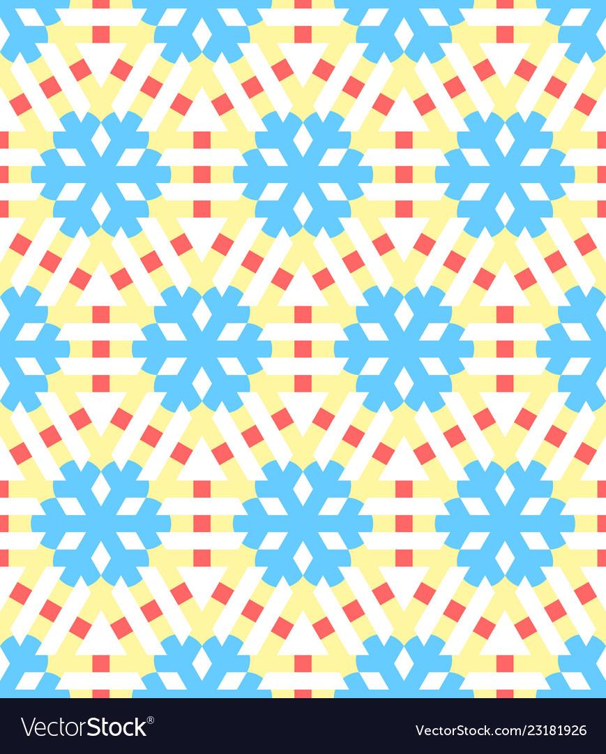Geometrical snowflakes seamless pattern winter