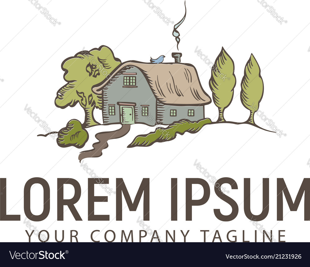 Hand drawn house and tree logo design concept