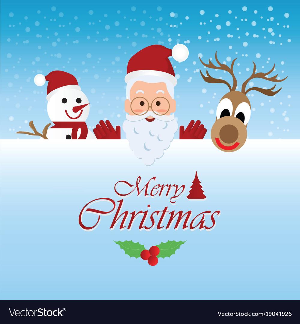 Merry christmas greeting card with christmas