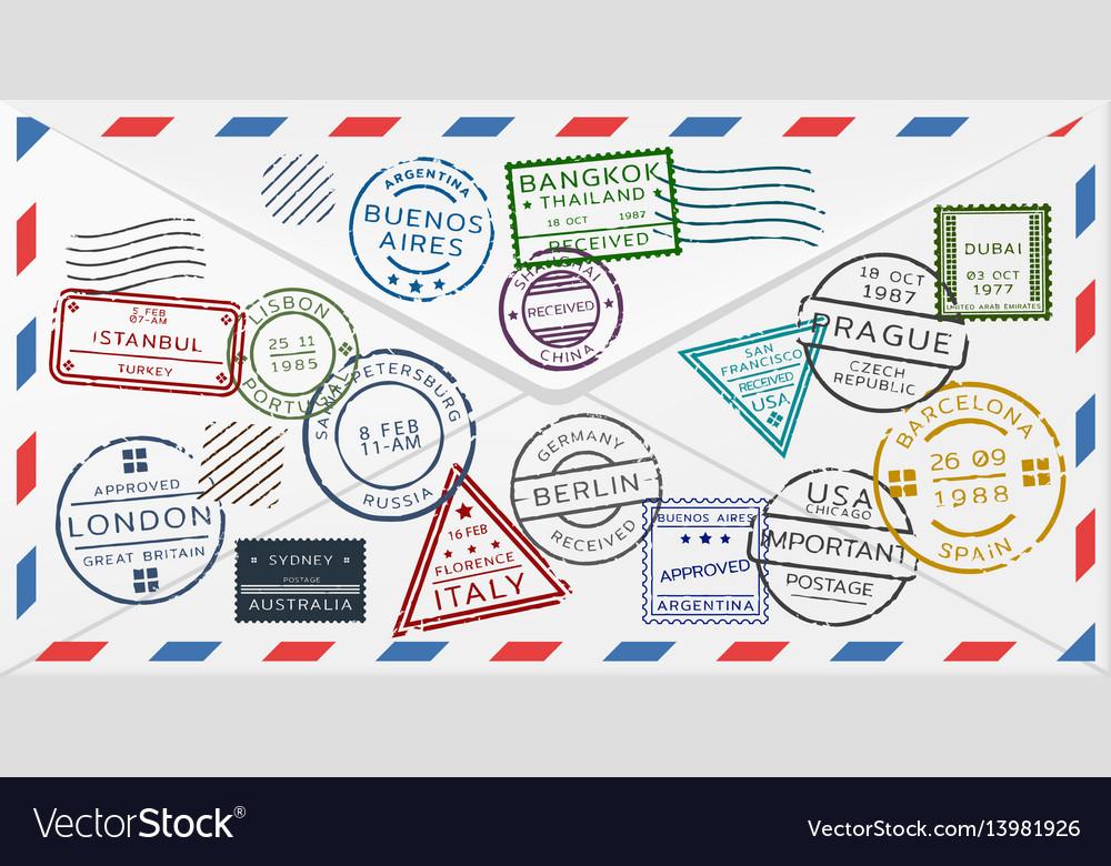 Retro postal envelope template